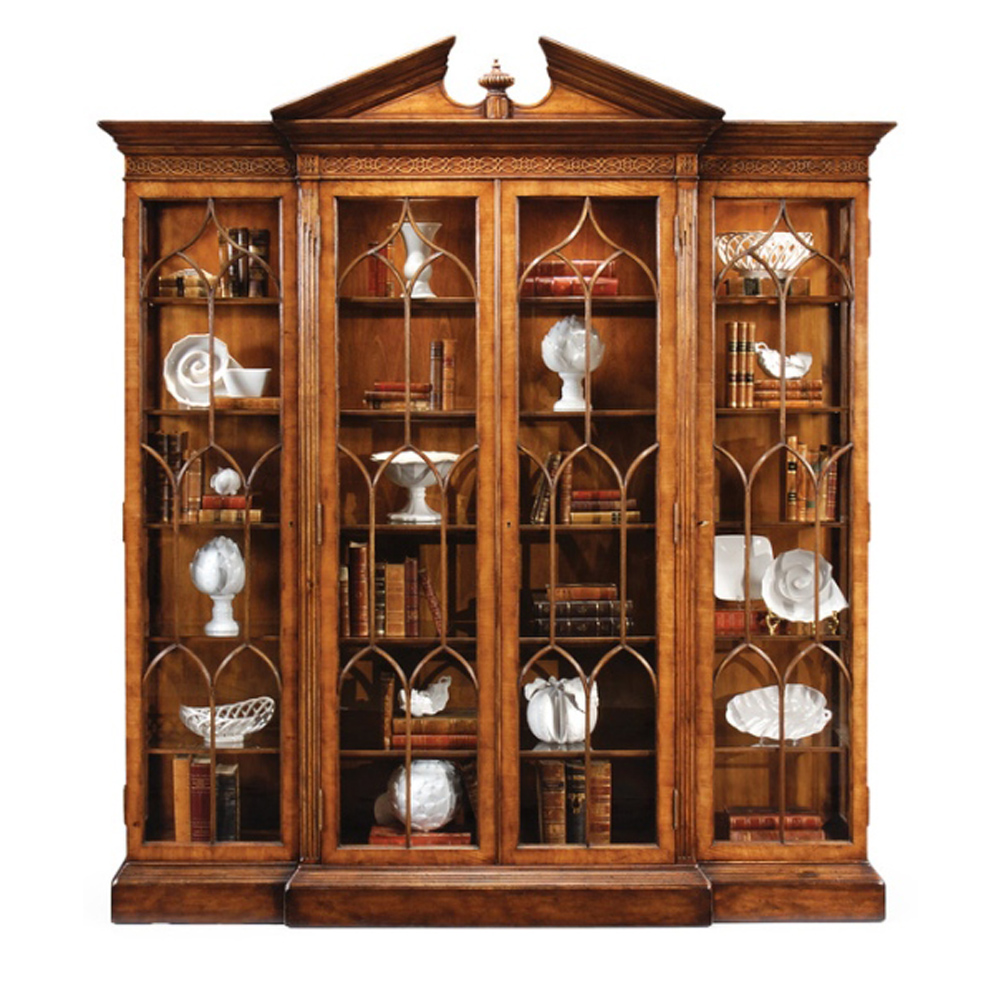 Jonathan Charles Home Walnut Breakfront Triple Display Cabinet Full Glazing