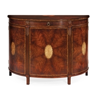 Jonathan Charles Home Crotch Mahogany Demilune Sideboard with Marquetry 493076