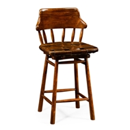 Jonathan Charles Home Country Style Leather Bar & Counter Stools 493095-CS-WAL-L002 Walnut Medium