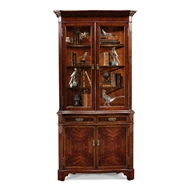 Jonathan Charles Home Mahogany China Cabinet With Serpentine Profile 493119-MAH Antique Mahogany Light
