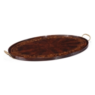 Jonathan Charles Home Oval Tray With Floral Inlay (Mahogany) 493276-MAH Crotch Mahogany with Floral Inlay