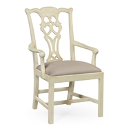 Jonathan Charles Home Linen Painted Chippendale Style Classic Walnut Armchair 493330-AC-LIN-F001 Linen Finish