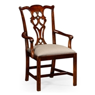 Jonathan Charles Home Chippendale Style Classic Mahogany Chair (Arm) 493330-AC-MAH-F001 Antique Mahogany Light