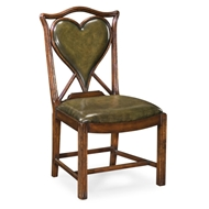 "Jonathan Charles Home Playing Card ""Heart"" Side Chair 493359-SC-WAL-L007 Walnut Medium"