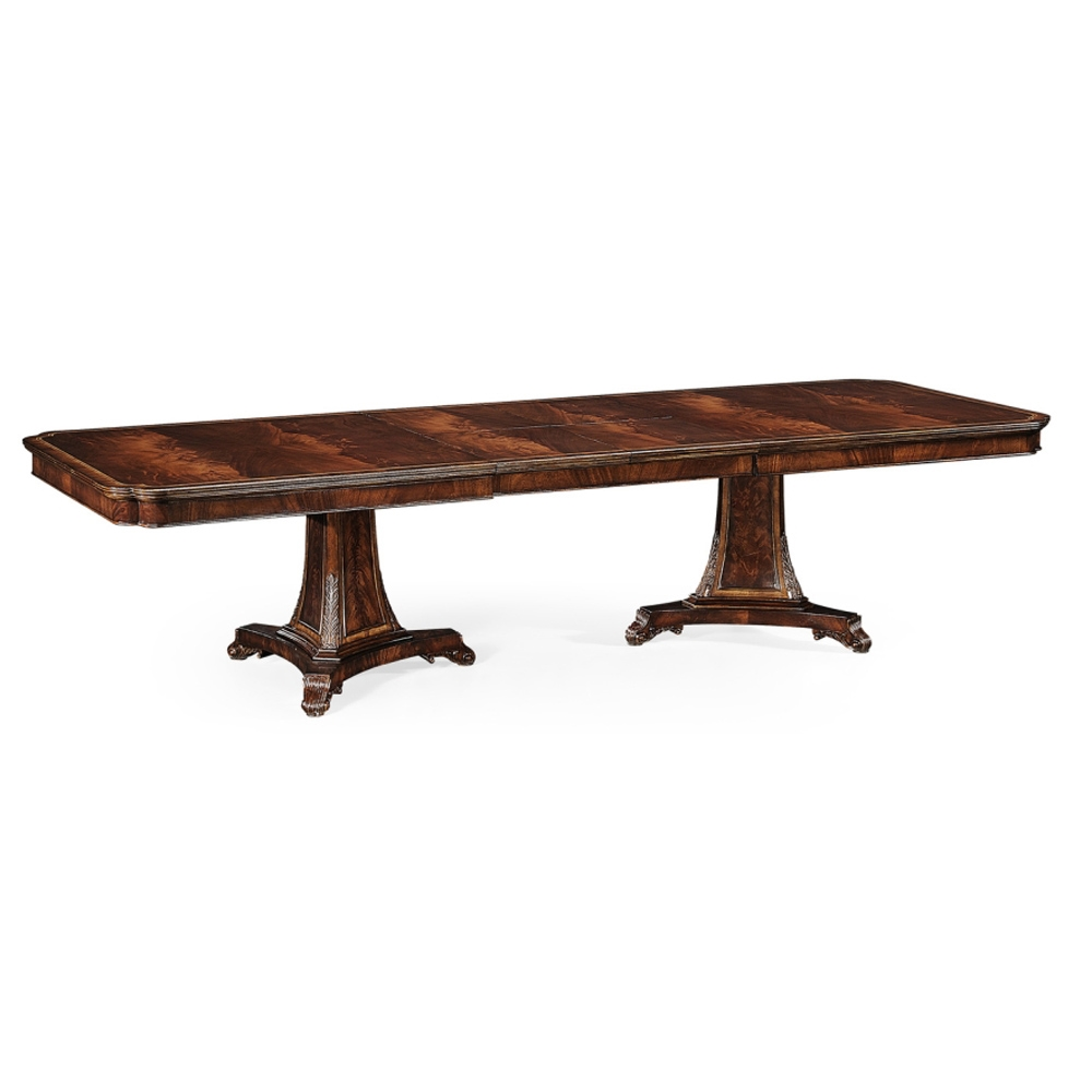 Jonathan Charles Home Curved Pedestal Extending Dining Table 493380-92L-MAH Antique Mahogany Light