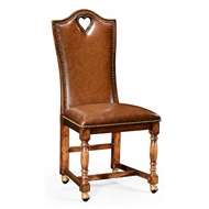 "Jonathan Charles Home High Back Playing Card ""Heart"" Side Chair 493383-SC-WAL-L002 Walnut Medium"