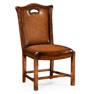 Jonathan Charles Home Chippendale Country Side Chair Leather Upholstery 493409 Walnut Medium