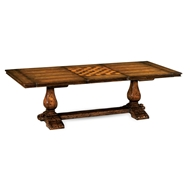 Jonathan Charles Home Refectory Style Coffee Games Table 493422-MFW Figured Walnut Medium