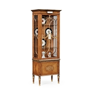Jonathan Charles Home Narrow Satinwood Display Cabinet With Glomis Details 493585-SAM Satinwood Medium