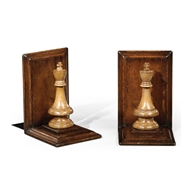 Jonathan Charles Home Walnut Chess Piece Bookends (King) 493711-WAL Walnut Medium
