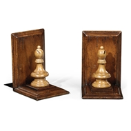 Jonathan Charles Home Walnut Chess Piece Bookends (Bishop) 493714-WAL Walnut Medium