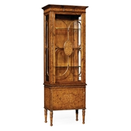 Jonathan Charles Home Seaweed Narrow Display Cabinet 493719-BWM Burr Walnut Medium