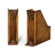 Jonathan Charles Home Pair Of Box File Bookends (Corinthian Columns) 493752-WLL Walnut Light