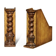 Jonathan Charles Home Pair Of Box File Bookends (Twisted Columns) 493754-WLL Walnut Light