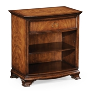 Jonathan Charles Home Crotch Walnut Bedside Cabinet With Shelf 493939-CWM Crotch Walnut Medium