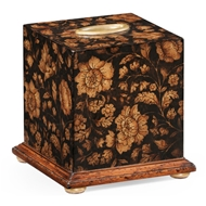 Jonathan Charles Home Chinoiserie Tissue Box (Black) 493966-PBF Painted Black Floral