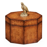 Jonathan Charles Home Walnut Octagonal Box With Bird Finial 493972-BWM Burr Walnut Medium