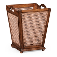 Jonathan Charles Home French Style Caned Waste Basket 493985-WAL Walnut Medium