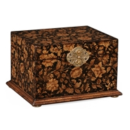 Jonathan Charles Home Black Painted Box 493987-PBF Painted Black Floral
