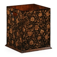 Jonathan Charles Home Chinoiserie Waste Bin (Black) 493994-PBF Painted Black Floral
