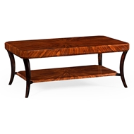 Jonathan Charles Home Art Deco Rectangular Coffee Table (Satin) 494012-SAS Santos Rosewood Satin