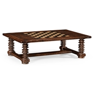 Jonathan Charles Home Turned Leg Heavy Distressed Games/Coffee Table 494039-CDW Crotch Walnut Heavily Distressed Walnut