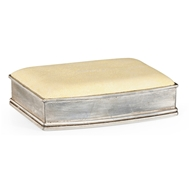 Jonathan Charles Home Faux Shagreen Silvered Box (Cream) 494115-SIL-SGC Shagreen Cream