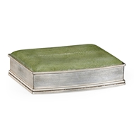 Jonathan Charles Home Green Faux Shagreen Silvered Box 494115-SIL-SGG Shagreen Green