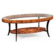 Jonathan Charles Home Art Deco Oval Coffee Table With Glass Top (Satin) 494138