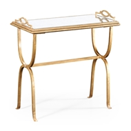 Jonathan Charles Home Eglomise & Gilded Iron Tray Table 494179
