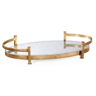Jonathan Charles Home Glomis & Gilded Iron Oval Tray 494200-G Gilded Iron