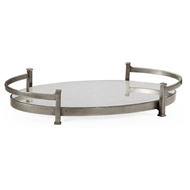 Jonathan Charles Home Glomis & Silver Iron Oval Tray 494200-S Gilded Antique Silver-leaf Iron