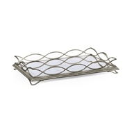Jonathan Charles Home Glomis & Silver Iron Rectangular Tray 494201-S Gilded Antique Silver-leaf Iron