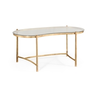 Jonathan Charles Home Gilded Kidney Desk & Glass Top 494214-G Gilded Iron