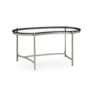 Jonathan Charles Home Silver Kidney Desk & Glass Top 494214-S Gilded Antique Silver-leaf Iron