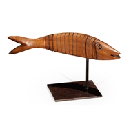 Jonathan Charles Home Articulated Walnut Fish On Stand (Walnut) 494223