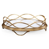 Jonathan Charles Home Glomis & Gilded Circular Tray 494249-G-GES Gilded Iron
