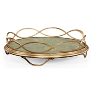 Jonathan Charles Home Green Faux Shagreen & Gilded Iron Circular Tray 494249-G-SGG Gilded Iron