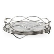 Jonathan Charles Home Glomis & Silver Circular Tray 494249-S-GES Gilded Antique Silver-leaf Iron