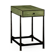 Jonathan Charles Home Green Faux Shagreen Bronze Side Table