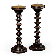 Jonathan Charles Lighting Pair Of Turned Black Painted Candlesticks 494271-EBF Ebonised