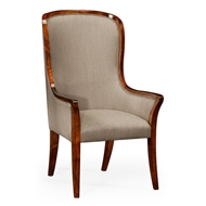 Jonathan Charles Home High Curved Back Upholstered Dining Armchair 494305-AC-WAL-F001 Walnut Medium