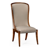 Jonathan Charles Home High Curved Back Upholstered Dining Side Chair 494305-SC-WAL-F001 Walnut Medium