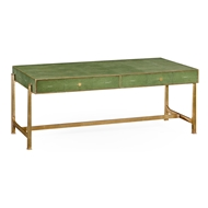 Jonathan Charles Home Green Faux Shagreen Gilded Coffee Table 494324