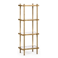Jonathan Charles Home Glomis & Gilded Iron Narrow Four-Tier Tagere