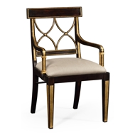 Jonathan Charles Home Regency Black Painted Curved Back Chair (Arm) 494347-AC-EBF-F001 Ebonised