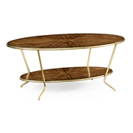 Jonathan Charles Home Argentinian Walnut Veneered Oval Coffee Table