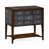 Jonathan Charles Home Faux Macassar Ebony & Anthracite Shagreen 9-Drawer Chest 494362-MAS Shagreen Anthracite