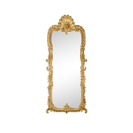 Jonathan Charles Wall Decor Tall Gilded Mirror With Scallop Shell 494373-GIL Antique Gold-leaf Light