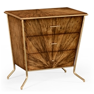 Jonathan Charles Home Argentinian Walnut Veneered Tapering Bedside Chest